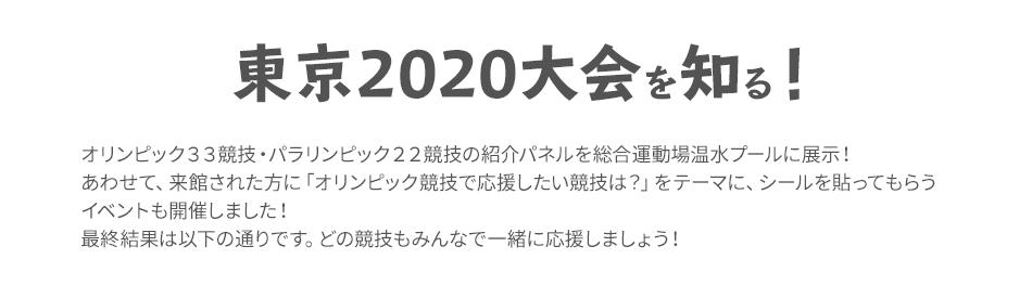 東京2020大会を知る
